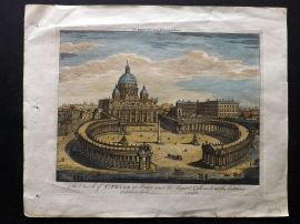 Bowles (Pub) C1795 Hand Col Architectural Print. St. Peter at Rome, Italy